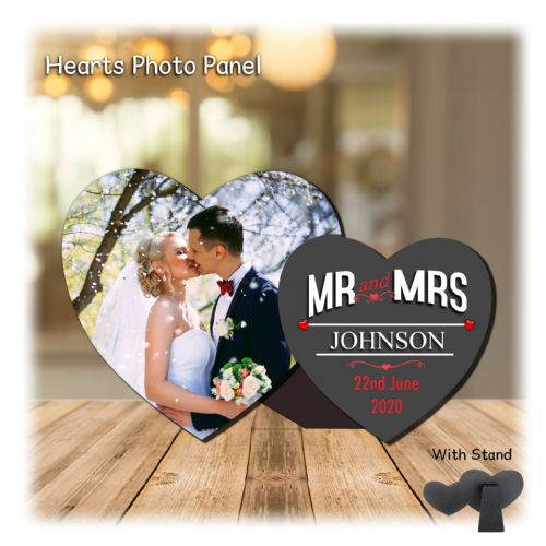 Personalised MDF Mr & Mrs Wedding Hearts Photo Wood Panel Print N2 Keepsake Gift